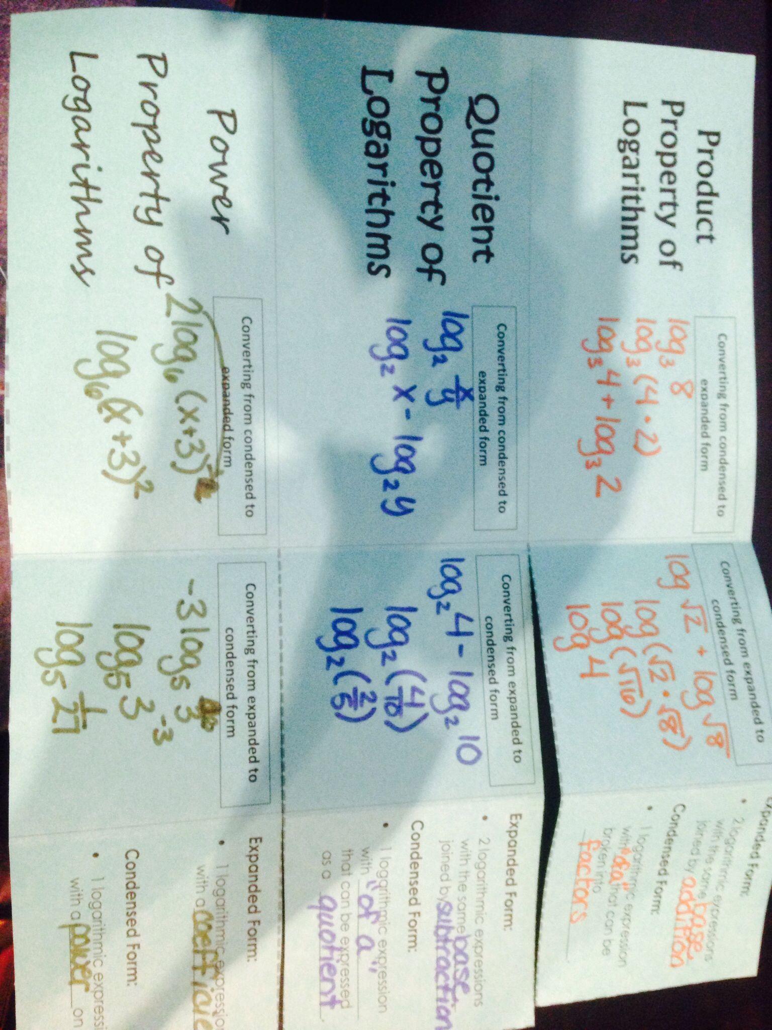 Logarithm Properties Foldable