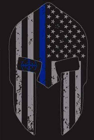 Thin Blue Line Spartan Helmet T Shirt Dave S Police