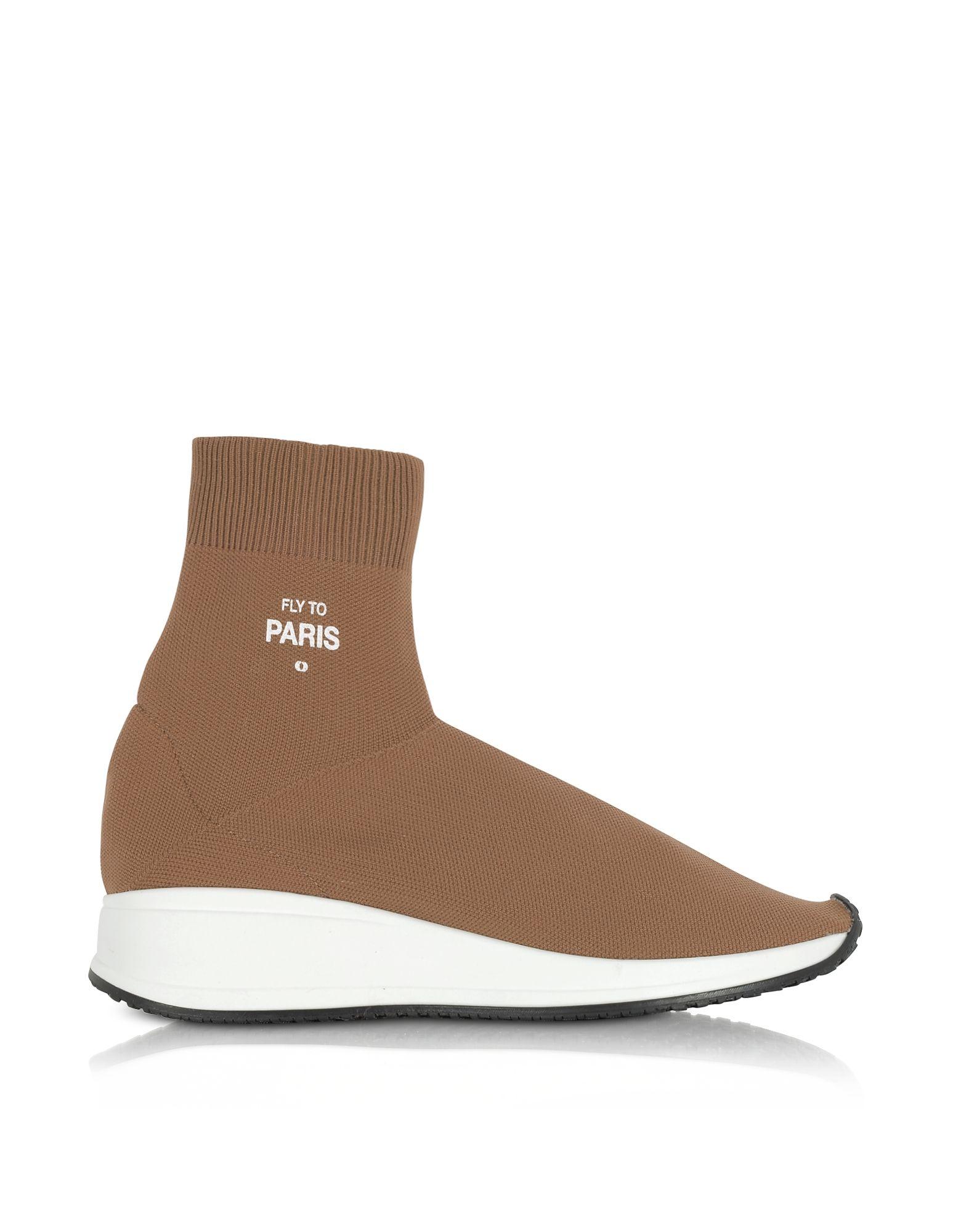 JOSHUA SANDERS Shoes, Fly To Paris Camel Nylon Sock Unisex Sneakers