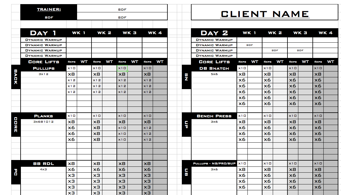 Google Sheets Personal Training Templates Exercise Cute766