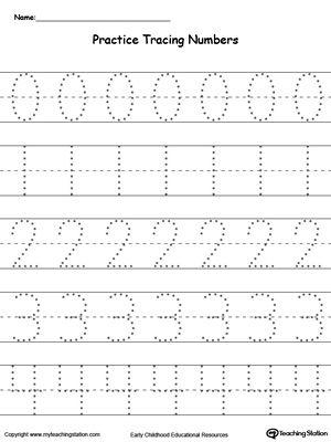 Practice Tracing Numbers 0 4 Worksheet For Kids Pinterest