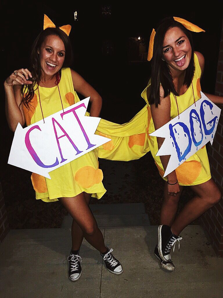 college girls paired catdog halloween costume diy