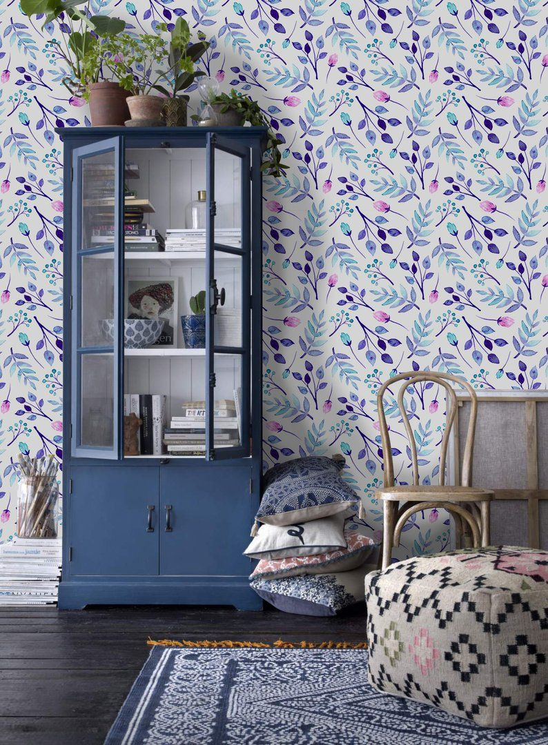 Blue and pink flowers removable wallpaper purple blue and
