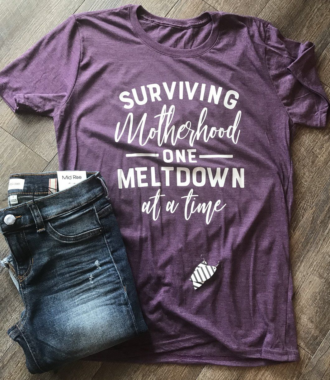 Best Funny Mom  Surviving motherhood one meltdown at a time funny mom life tee - Mavictoria Designs Hot Press Express 2
