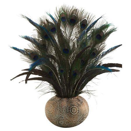 Peacock Feathers Arrangement I At Joss Main Feather Arrangements Castle Decor Feather Crafts