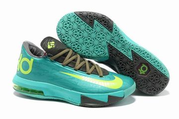 """online store f831c 1ed70 KD VI""""Bamboo""""Nike Zoom Kevin Durant Basketball Shoes Atomic Turquoise  Electric Yellow Volt Colors"""