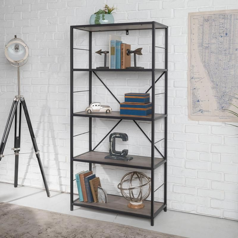 63 Inch Rustic Gray Wash Bookcase Metal Bookcase Bookshelf Storage Etagere Bookcase