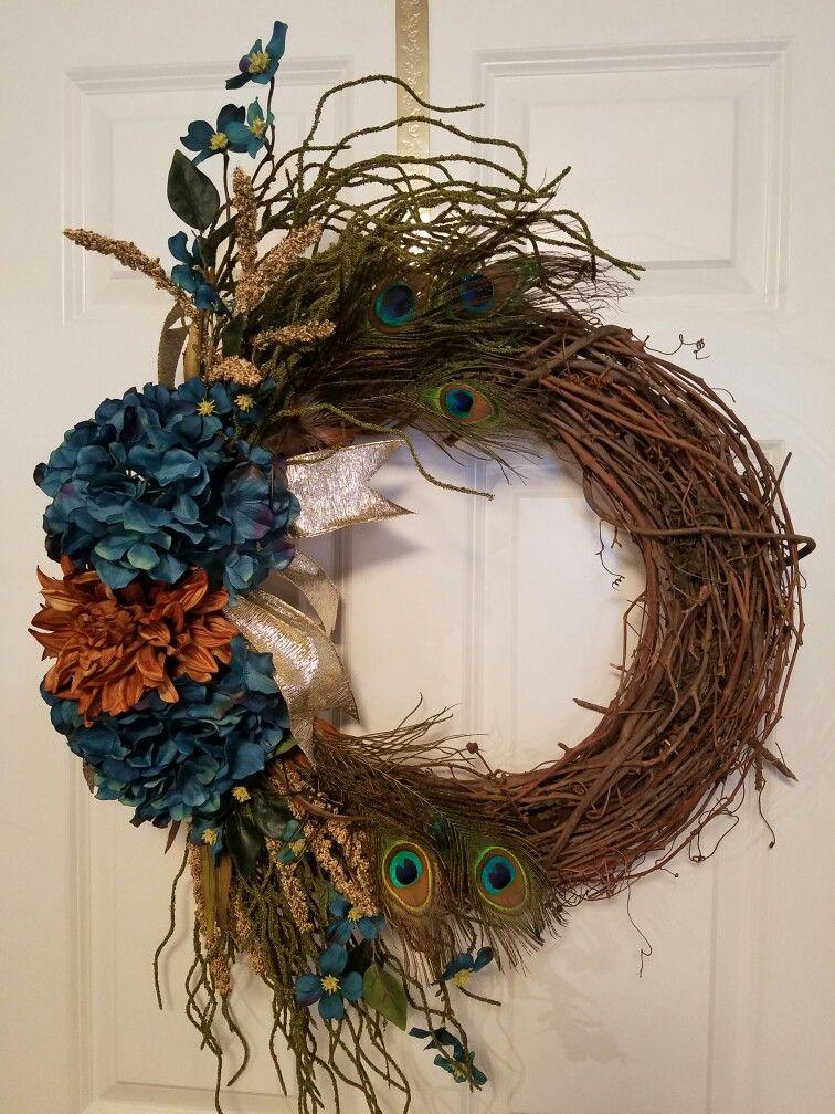 turkey bird a peacock feather grapevine wreath