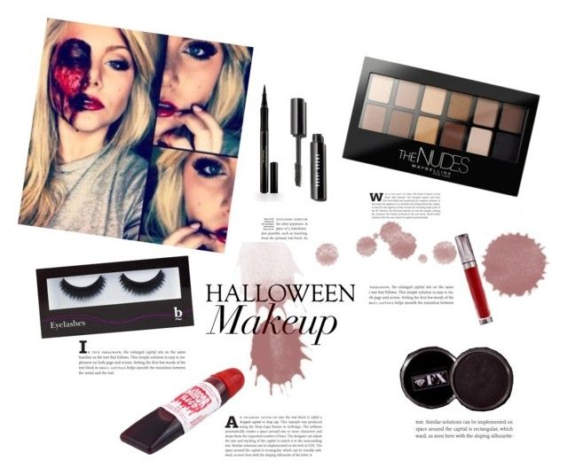"""""""haloween makeup :)"""" by athinamintsi ❤ liked on Polyvore featuring beauty, Maybelline, BBrowBar, Urban Decay and Elizabeth Arden"""