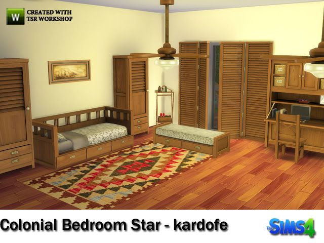 Sims 4 CC's - The Best: COLONIAL BEDROOM STAR by Kardofe