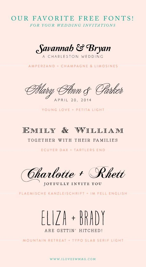 our favorite free font combinations for wedding invitations by roserie - Free Wedding Invitation Fonts