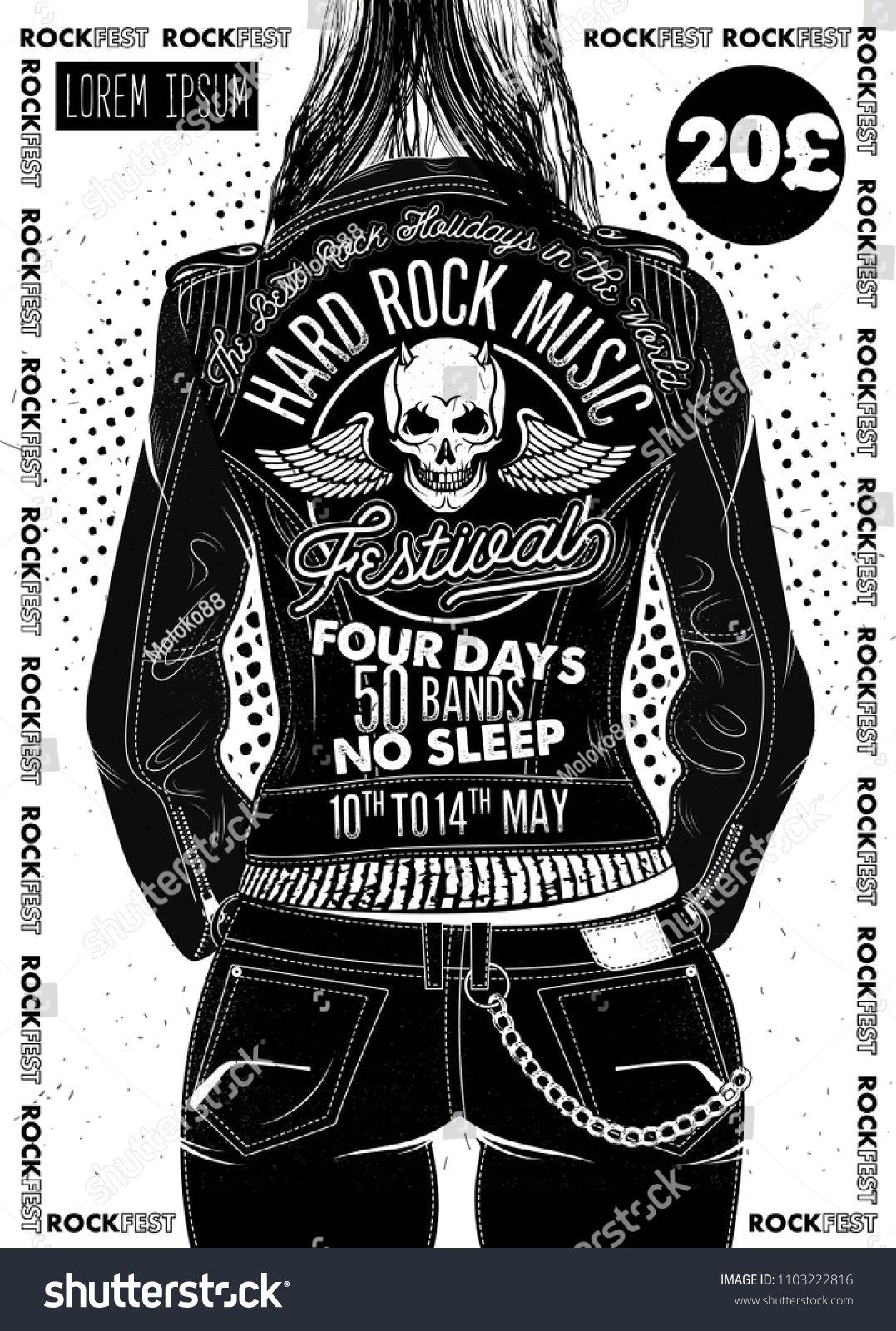 Hard Rock Festival Poster Rocker Girl In A Leather Biker Jacket