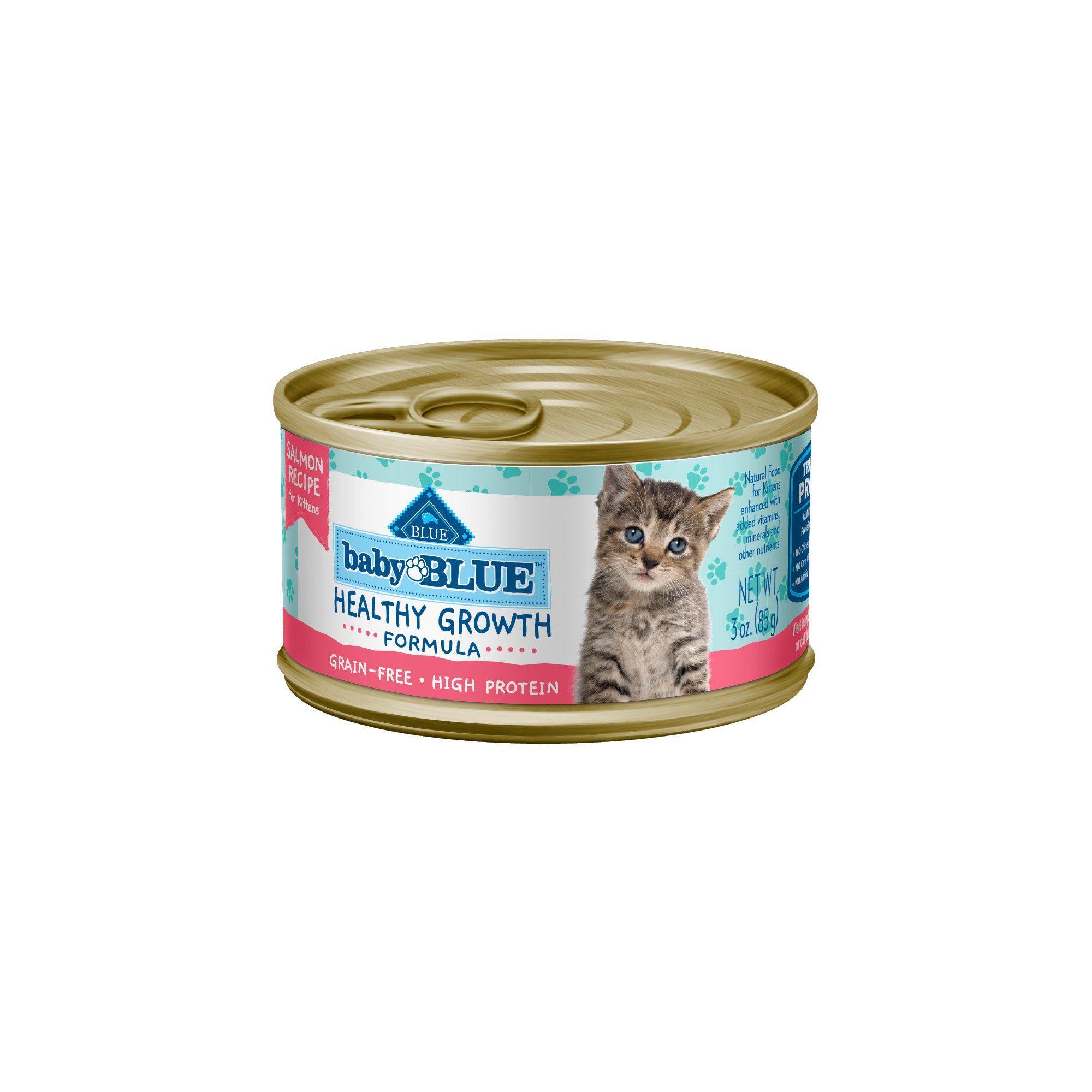 Blue Buffalo Baby Blue Healthy Growth Formula Natural Grain Free Salmon Recipe Kitten Pate Wet Food 3 Oz Case Of 24 Petco In 2020 Blue Buffalo Free Chicken Recipes Grain Free