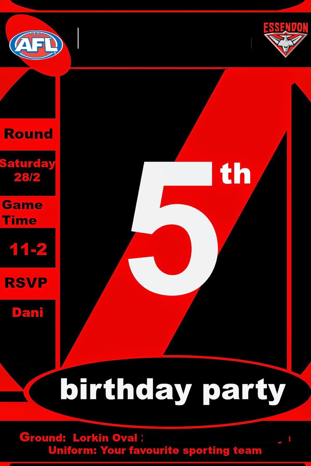 Essendon Bombers Birthday Party Invitations | Birthday parties ...