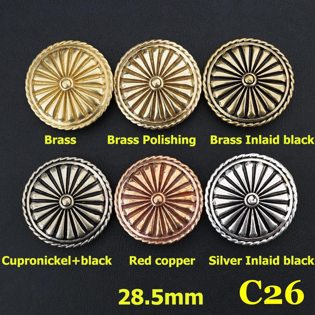 Solid Brass Conchos Screw Back Rivet Leather Craft Wallet bag Decor more types