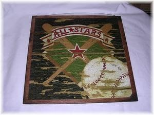 All Stars Baseball Wooden Wall Art Sign Sports Bedroom Decor Boys By The  Little Store Of