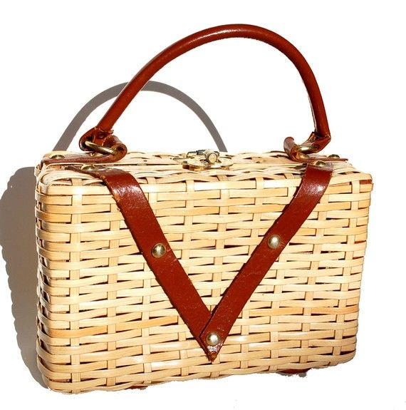 Vintage Mid Century Basket Purse with Leather Accents- 50s 60s