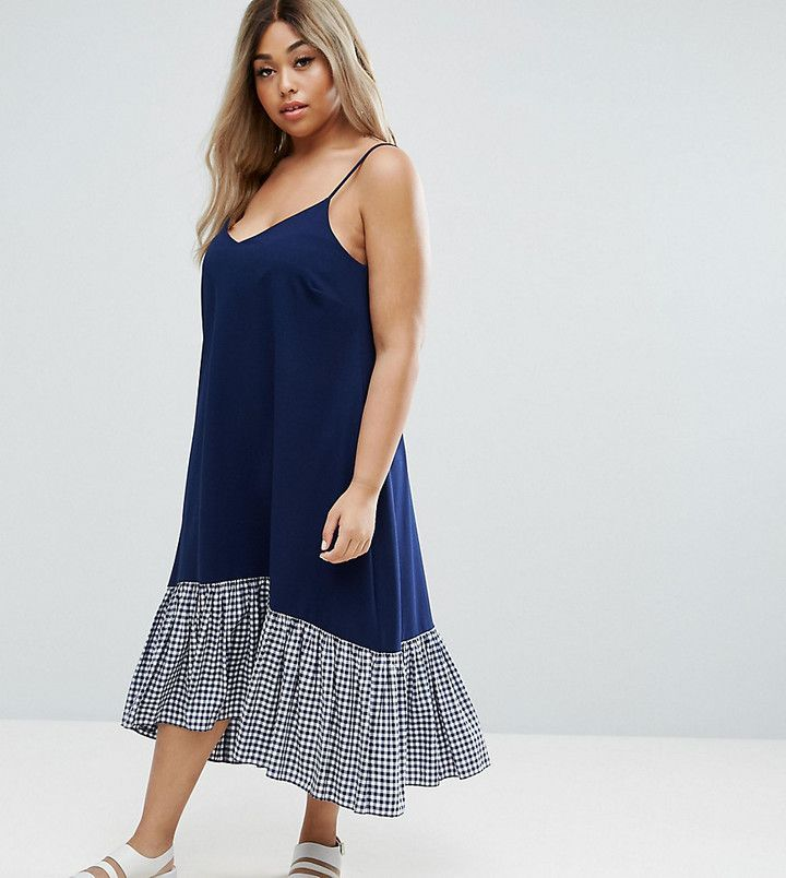 f015bed868c Asos Cami Midi Dress with Dropped Hem in Gingham