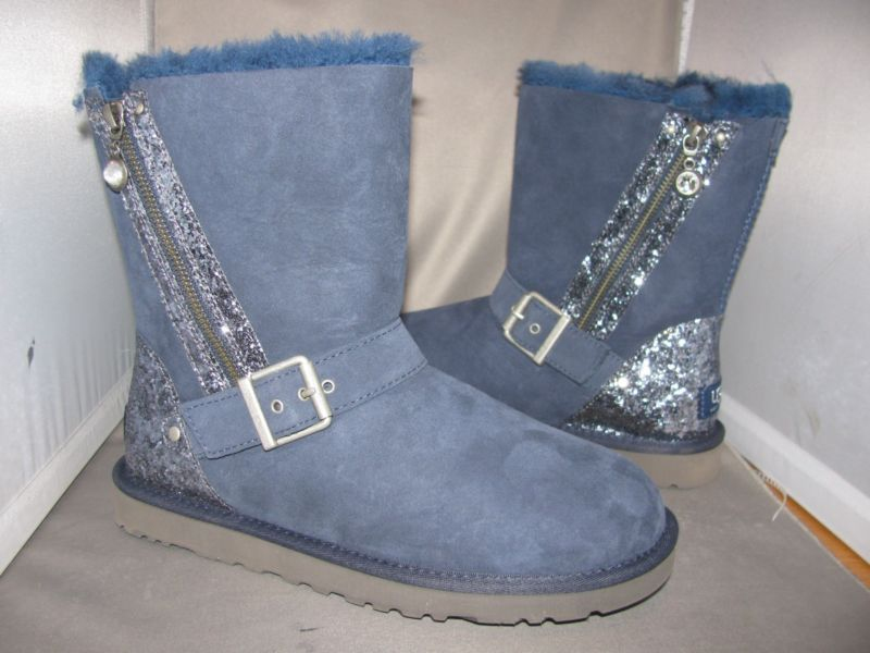 NIB Ladies UGG Australia BLAISE GLITTER 1004271 Sparkle Navy Blue Boots - Size 7