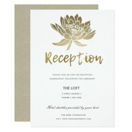Glamorous pale gold white lotus floral reception invitation glamorous pale gold white lotus floral reception card wedding invitations cards custom invitation card design stopboris Gallery