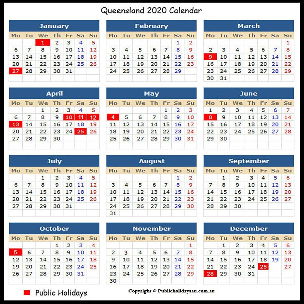 Free 2020 Qld Public Holidays School Holiday Calendar Holiday Calendar School Holidays
