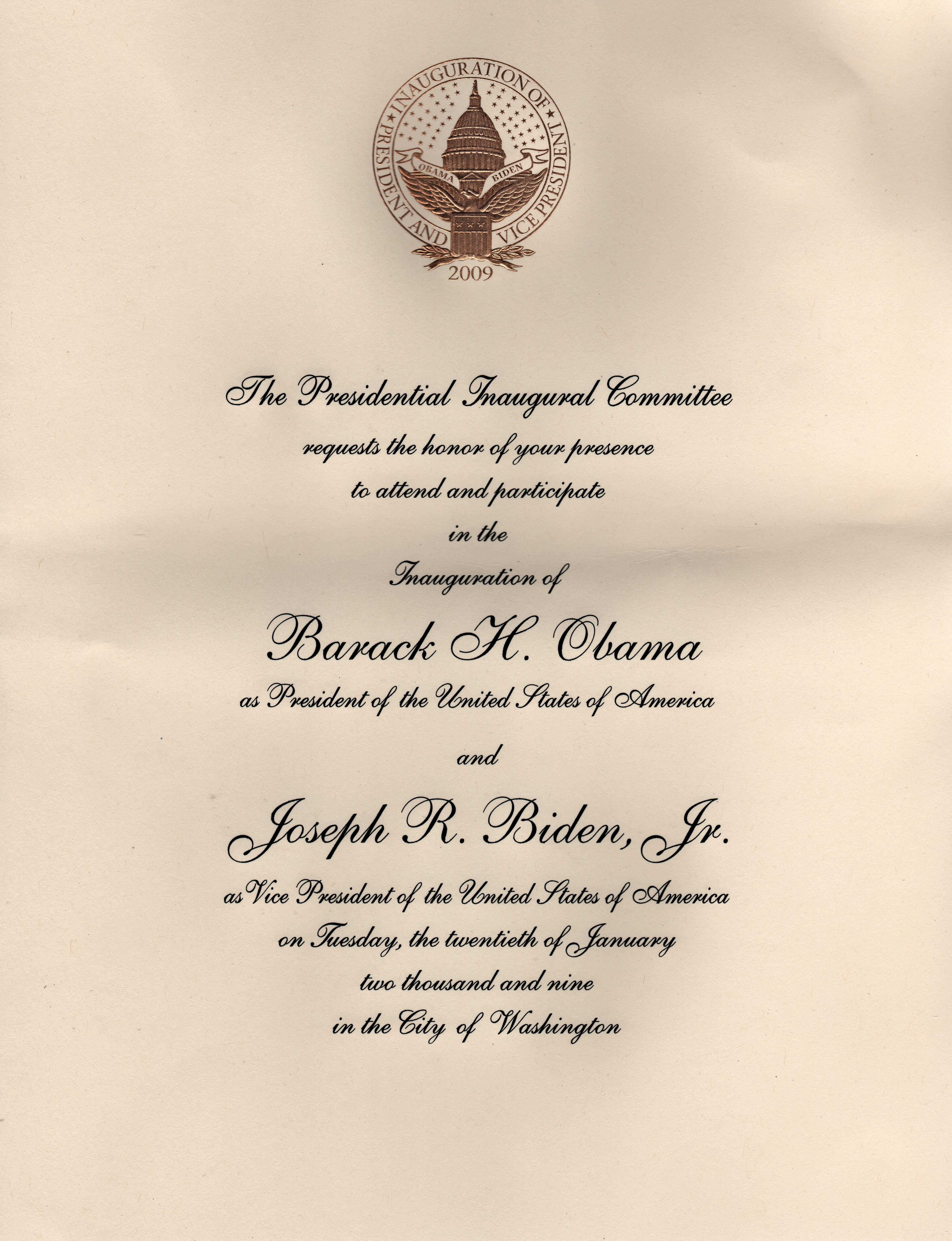 How To Attend Inauguration 2017 Invitation Template