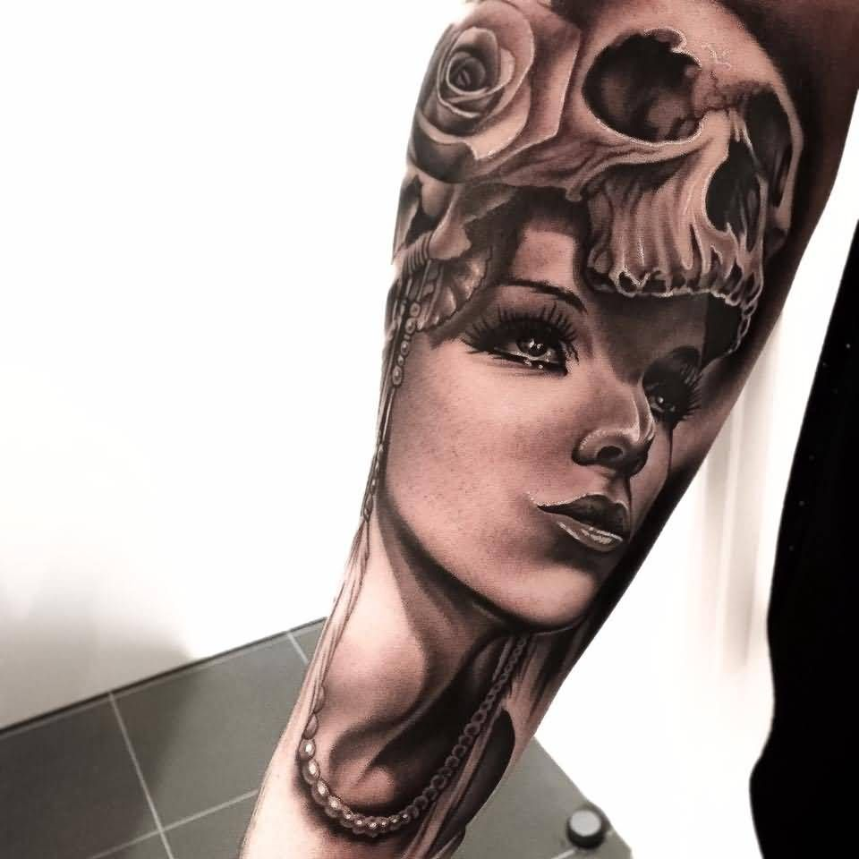 d6b31849f Arm Awesome Skull Girl Face With Roses Tattoo Design By Levi Barnett ...