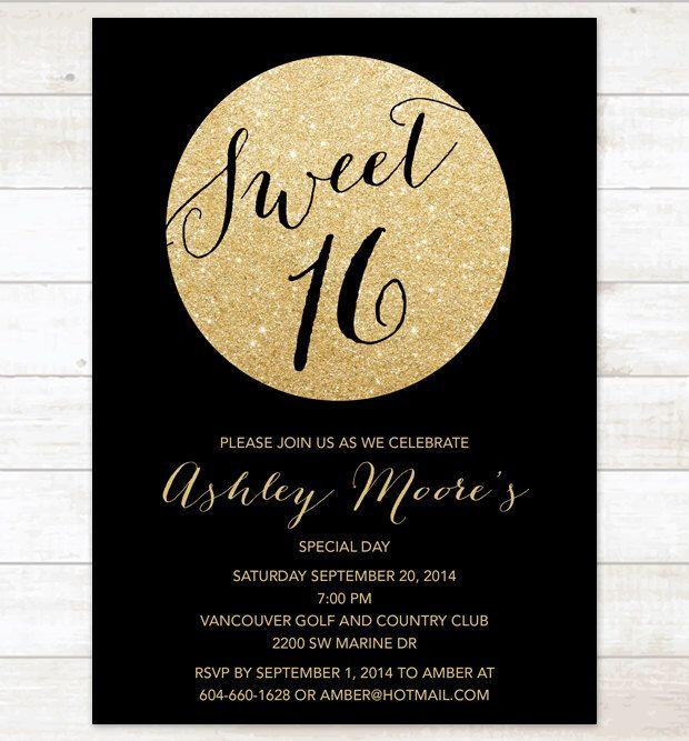 black gold sweet 16 birthday invitation sweet sixteen invitation