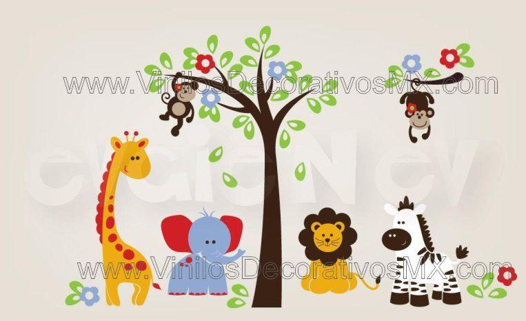 Vinilos infantiles de la jungla arbol con changuitos - Decoracion habitacion bebe vinilos ...