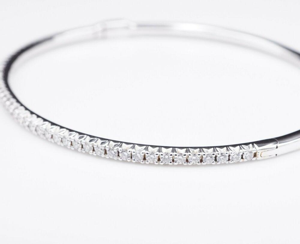 b836e6e75 Tiffany & Co 18k White Gold Metro Hinged Bangle Diamond Bracelet 7