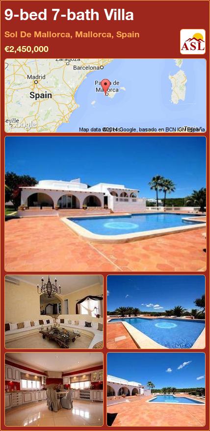 9bed 7bath Villa in Sol De Mallorca, Mallorca, Spain