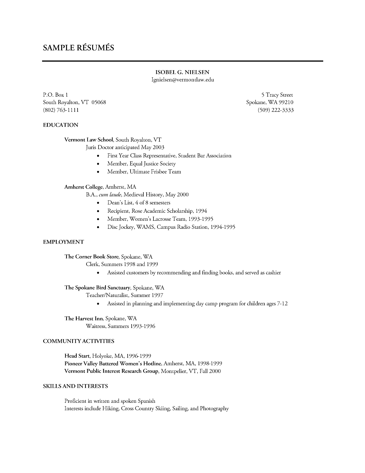 sample resume showing volunteer work