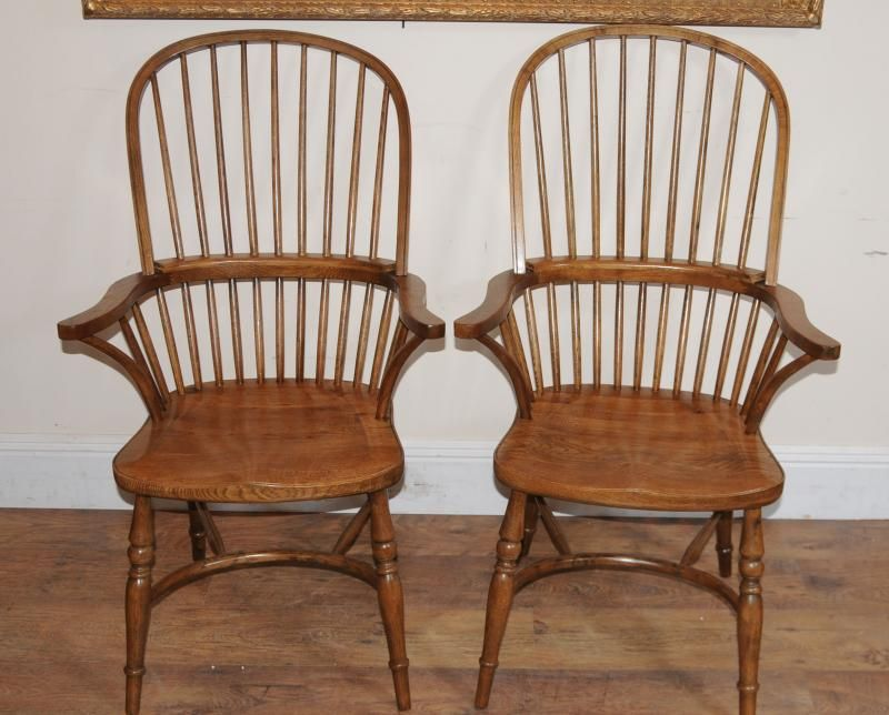 Pair Windsor Dining Arm Chairs Windsors Armchairs Arm