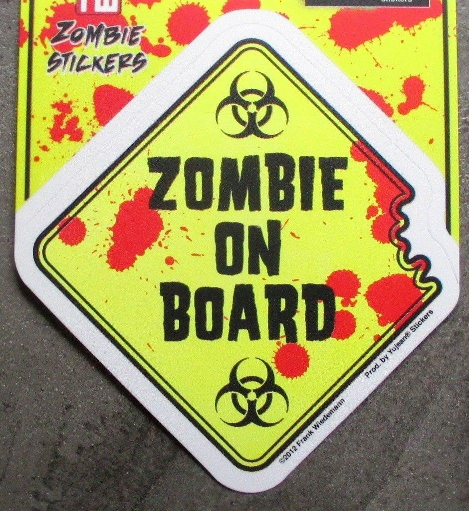 Sticker zombie on board attention danger autocollant