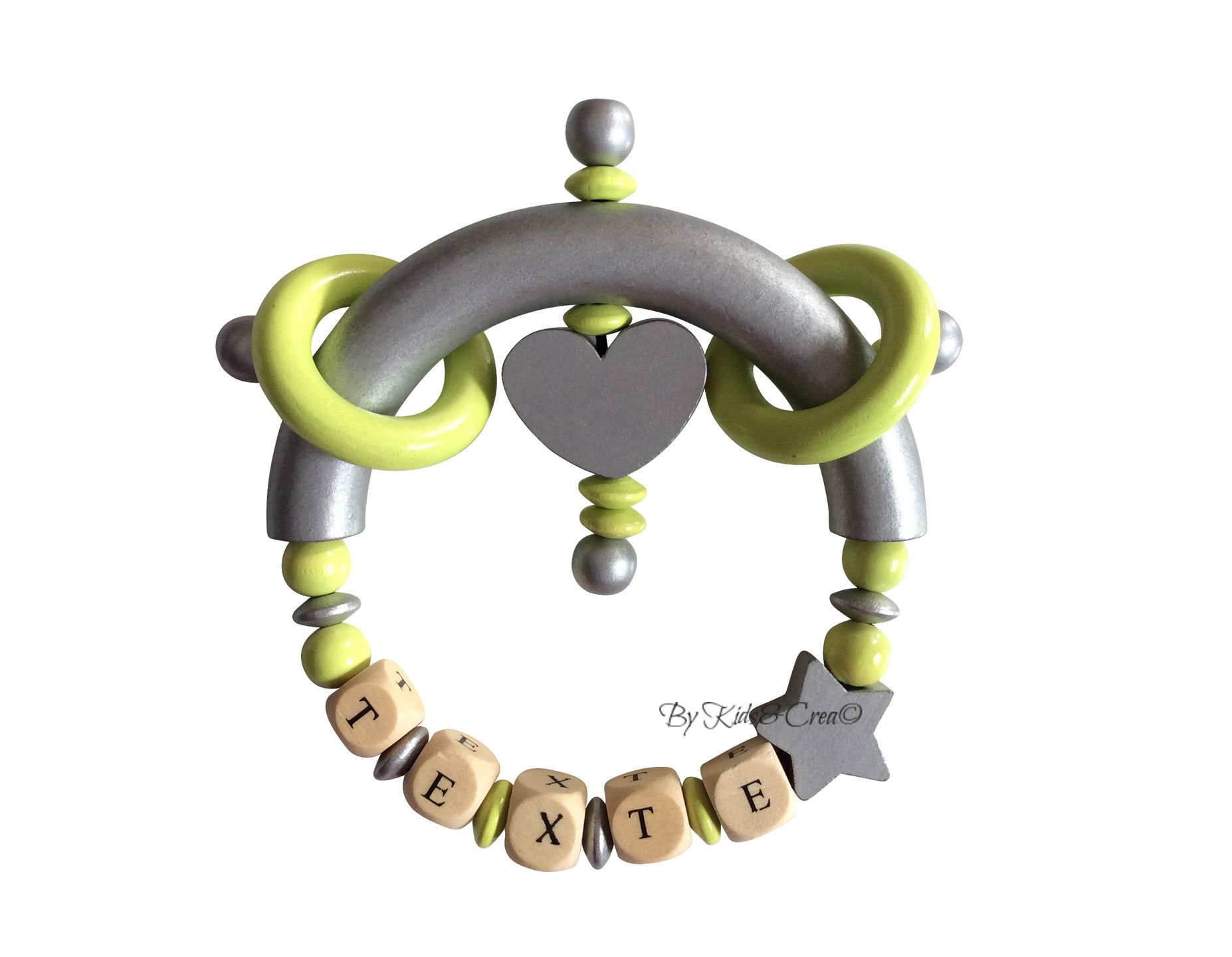 Hochet personnalisable au nom de votre bébé ou enfant Modèle Argent-Vert Anis : Puériculture par kidsandcrea