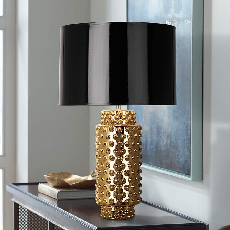 Robert Abbey Large Dolly Black Shade Gold Glaze Table Lamp 6p845 Lamps Plus Lamp Table Lamp Contemporary Glass Table Lamps