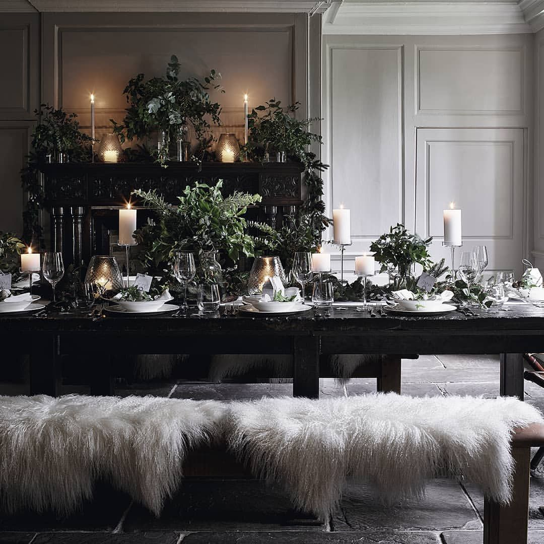 Get Ready To Wow Your Guests With A Dark And Decadent Tablescape Tap To Recreate This Look Christmas Room Decorating With Christmas Lights The White Company