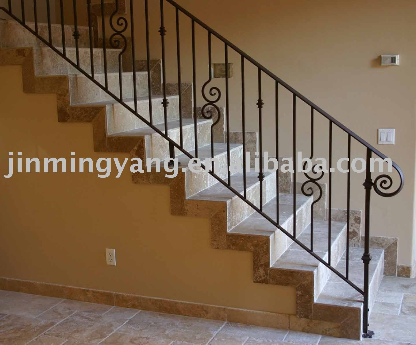 Iron Stair Banisters And Railings |  Wrought_iron_stair_handrail_Metal_stair_handrail