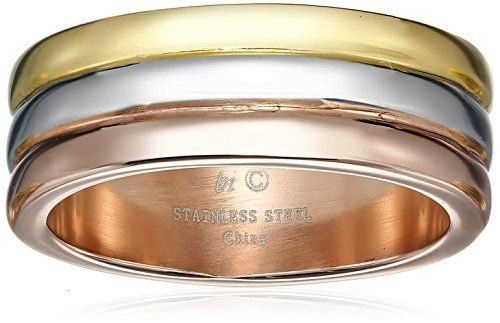 Stainless Steel Ring with Gold and Rose Ion Plating Primal Steel Titanium 6mm Brushed Band Mens Size 65 Multicolor Stainless Steel Grooved 8mm Satin and Polished Band Me...