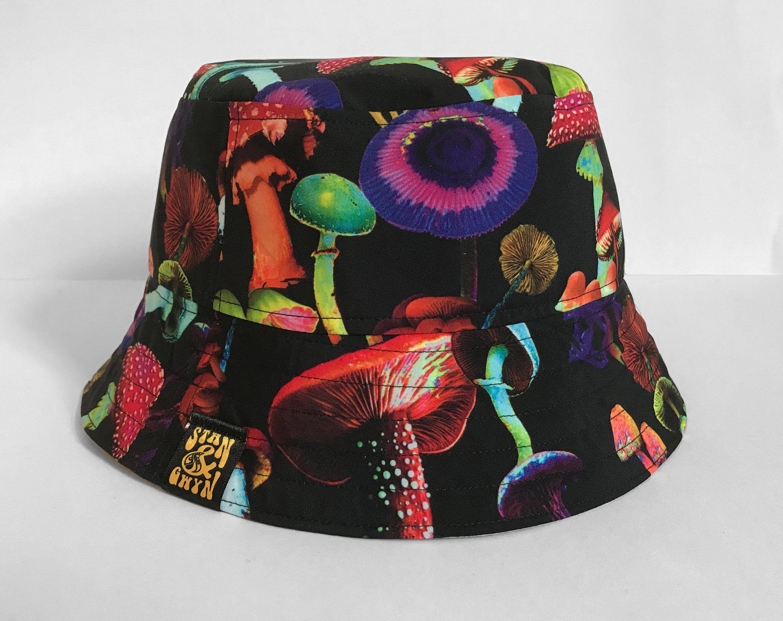 Neon Bucket Hat Magic Mushroom Fisherman Hat Etsy Mushroom Pattern Festival Hat Fisherman Hat