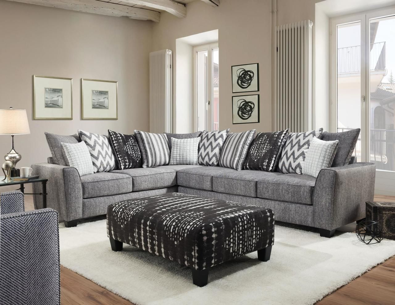 Albany Stonewash Black Sectional Sofa In 2020 Affordable