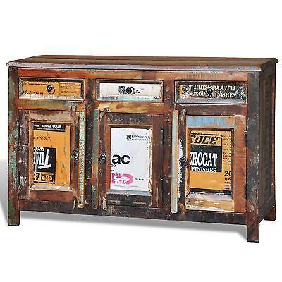 Antik Teak Massivholz Kommode Sideboard Tv Hoch Schrank Vintage