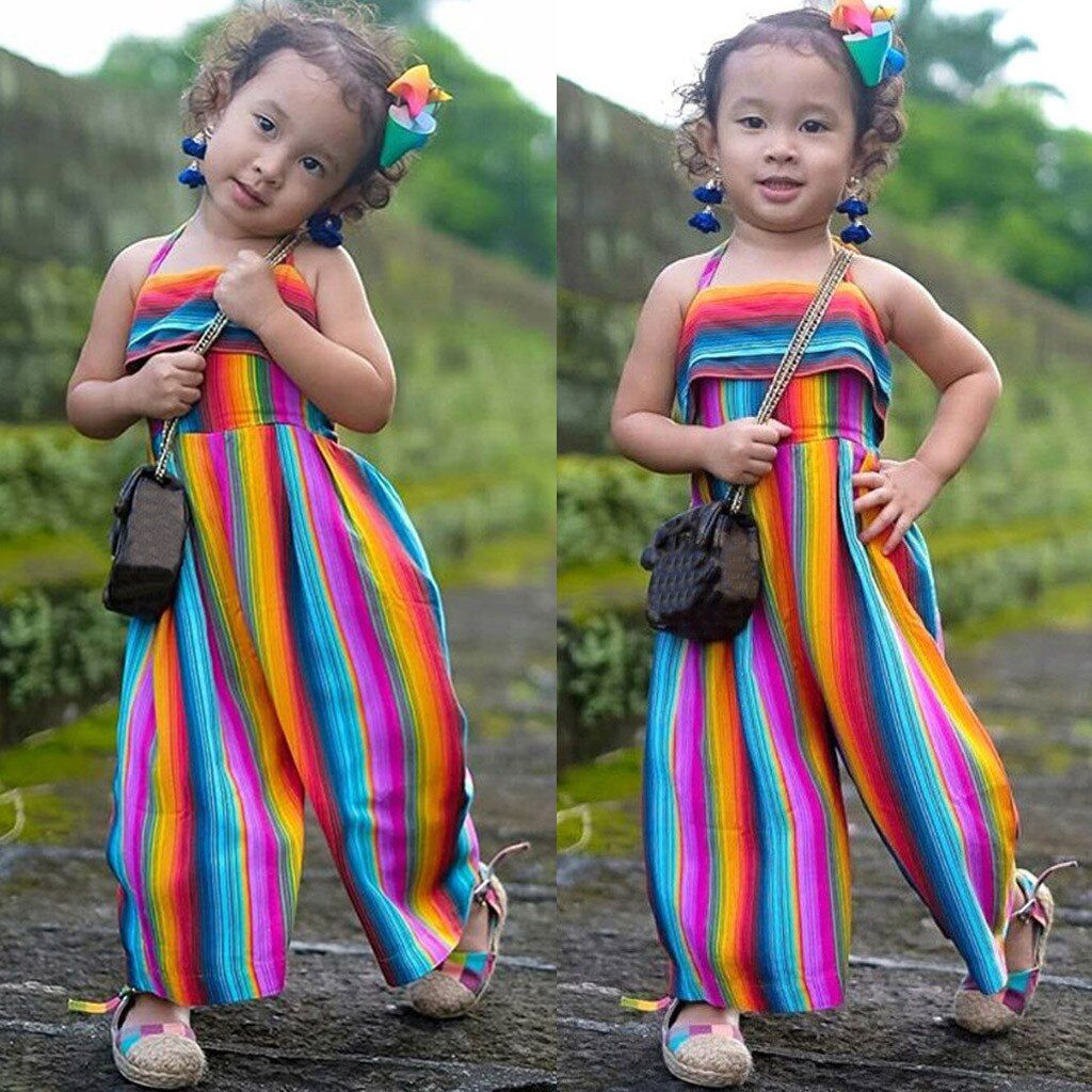 055d3bb8a2b56 LONSANT Rompers Baby Summer Toddler Baby Kids Girls Summer Rainbow ...
