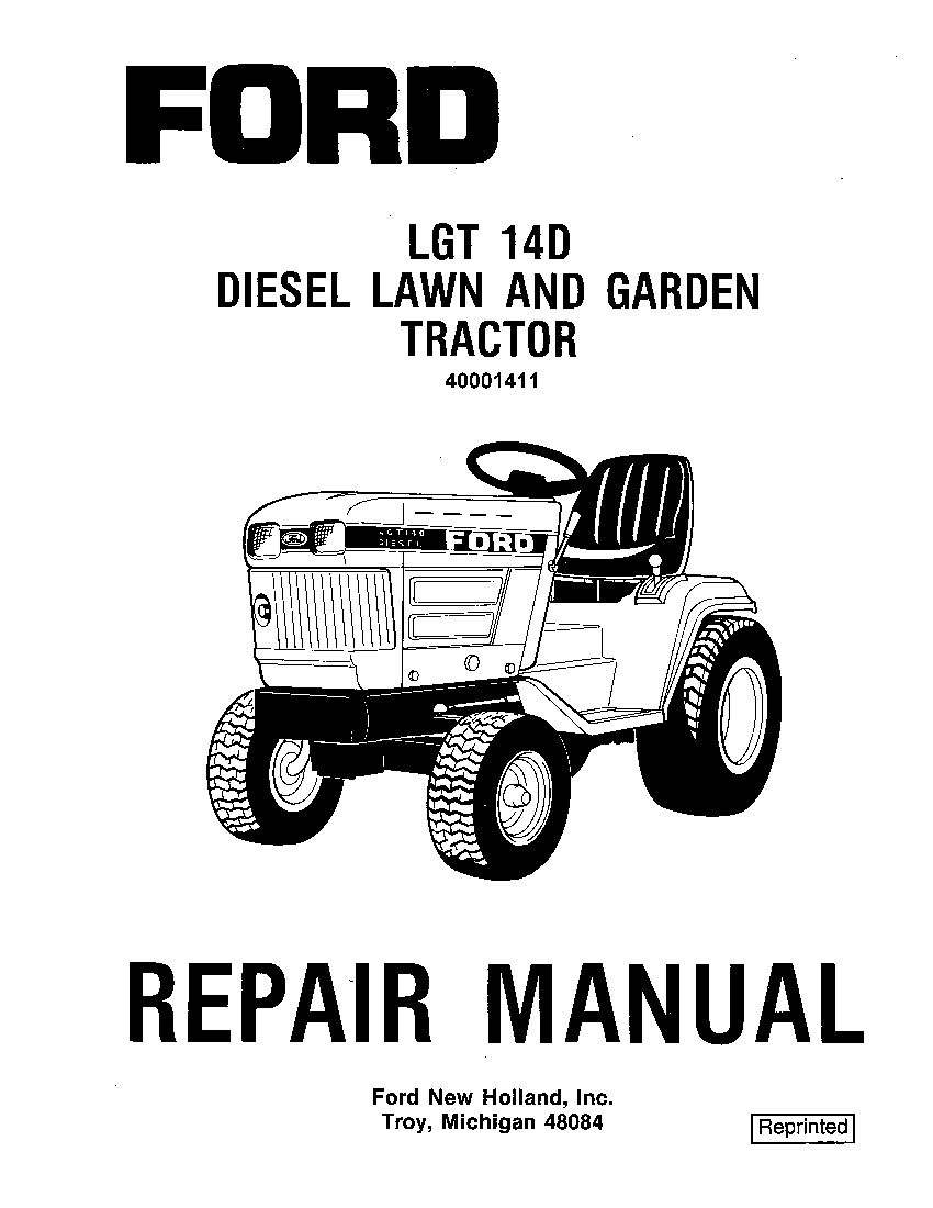 New Holland Ford Lgt 14d Lawn And Garden Tractor Workshop Repair