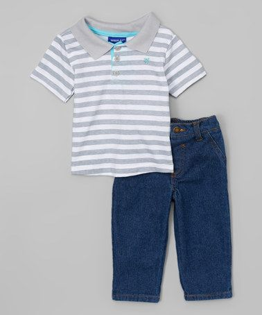 Love this Light Gray Stripe Polo & Jeans - Infant & Toddler on #zulily! #zulilyfinds