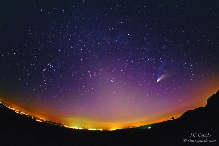Image result for higgs-boson comet in the night sky