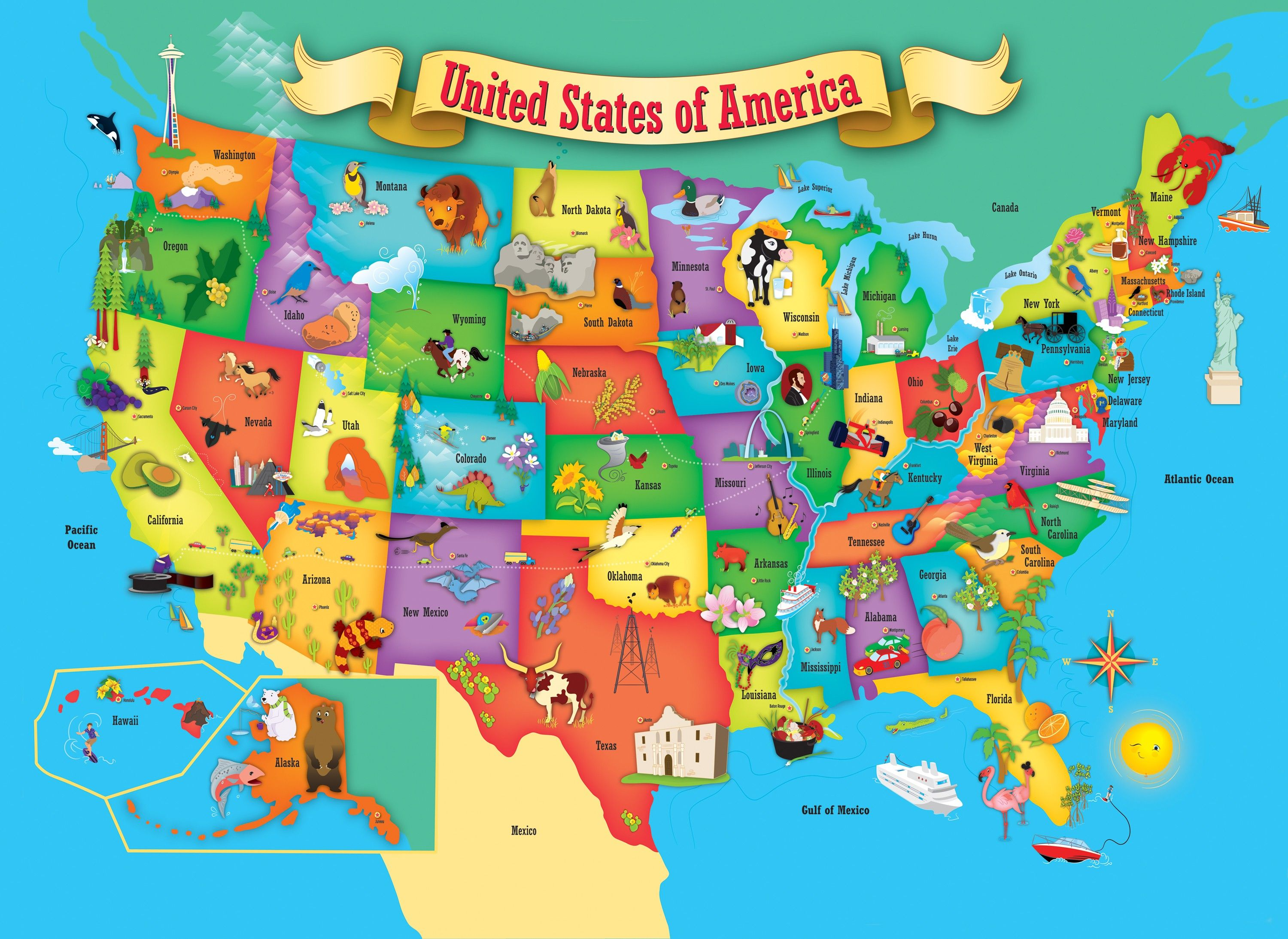 This usa map 60 piece kids puzzle by masterpieces is an for Online sites in usa