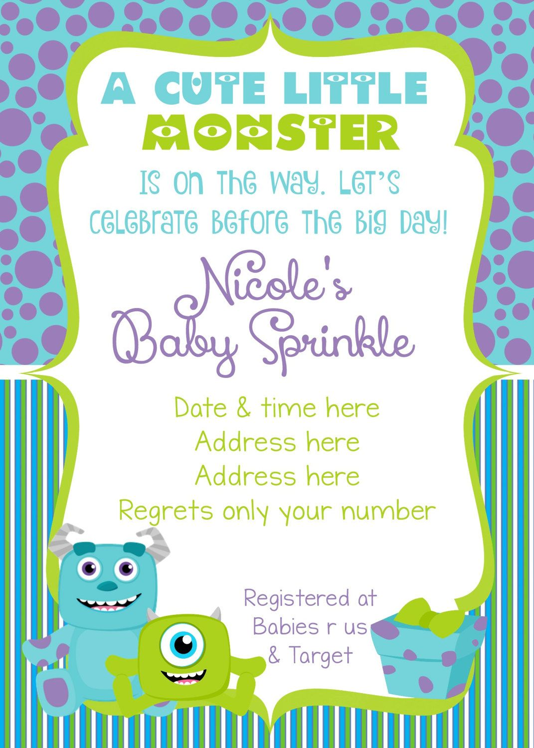 Monsters Inc Baby Shower Invitation - Monsters Inc Baby Shower ...