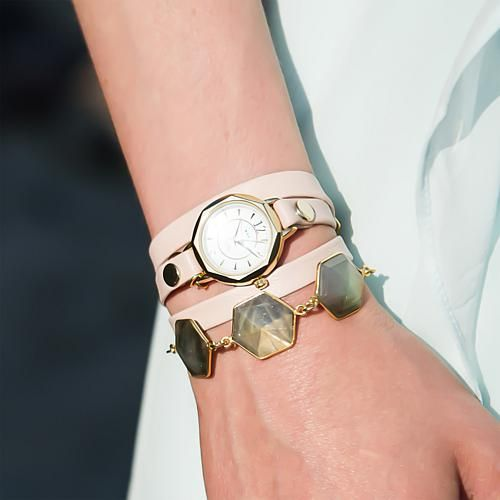 La Mer Goldtone Octagonal Case Labradorite Chain and Blush-Colored Leather Wrap Watch