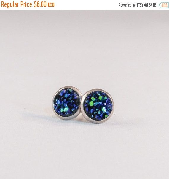 445fb2093 Small Sparkly Ocean Blue Teal Green 8mm Faux Druzy Stud Earrings Stainless  Steel or Antique Gold Color Setting by theglamgeek on Etsy